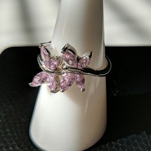Dainty Pink Butterfly Ring - size 7